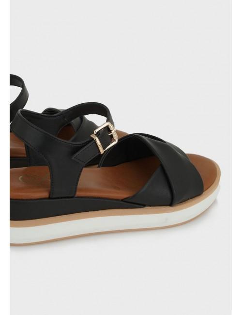 Γυναικείο παπούτσι flat EXE M47003132001 οικολογικό δέρμα ΜΑΥΡΟ